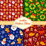 Set of Christmas seamless patterns. Backgrounds with symbols holiday and icons family celebration elements. Winter. Set of Christmas seamless patterns Stock Photography