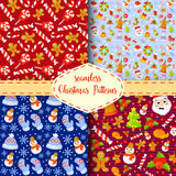 Set of Christmas seamless patterns. Backgrounds with symbols holiday and icons family celebration elements. Winter. Set of Christmas seamless patterns Royalty Free Stock Photo