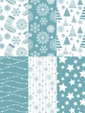 Set of Christmas seamless patterns. 10 eps Stock Photos