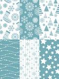 Set of Christmas seamless patterns. Stock Photos
