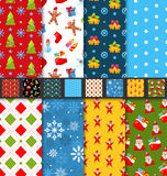 Set Christmas Seamless Patterns Royalty Free Stock Photography