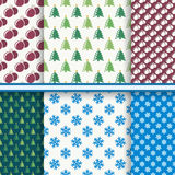 Set of Christmas seamless patterns Royalty Free Stock Photos
