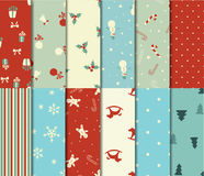 Set of 12 Christmas seamless patterns Royalty Free Stock Photos