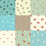 Set of Christmas seamless patterns. In retro style Royalty Free Stock Photo