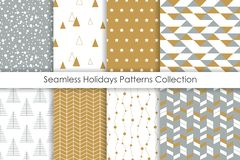 Set of Christmas seamless patterns. vector illustration