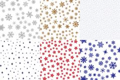 Set of christmas seamless patterns Stock Images