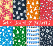 Set of christmas seamless patterns. Symbols of Christmas and win. Ter. Vector illustration Royalty Free Stock Photography