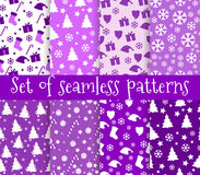 Set of christmas seamless patterns. Symbols of Christmas and win Royalty Free Stock Image