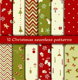 Set of 12 Christmas seamless patterns. Vector illustration Stock Photography