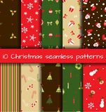 Set of  10 Christmas seamless patterns. Vector illustration Stock Image