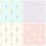 Set of 4 christmas seamless patterns. Vector illustration Stock Image
