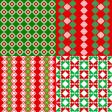 Set of Christmas seamless patterns. Vintage Tile, vector. Christmas backgrounds vector illustration