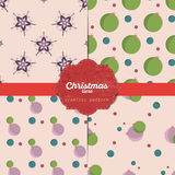 Set of  christmas seamless patterns for xmas cards and gift wrapping paper Royalty Free Stock Photography