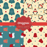Set of  christmas seamless patterns for xmas cards and gift wrapping paper Stock Images