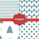 Set of  christmas seamless patterns for xmas cards and gift wrapping paper Royalty Free Stock Images