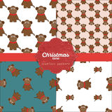 Set of  christmas seamless patterns for xmas cards and gift wrapping paper Royalty Free Stock Photo