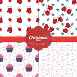 Set of  christmas seamless patterns for xmas cards and gift wrapping paper Royalty Free Stock Photos