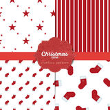 Set of  christmas seamless patterns for xmas cards and gift wrapping paper Royalty Free Stock Image