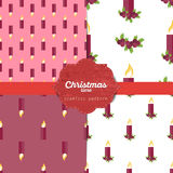 Set of  christmas seamless patterns for xmas cards and gift wrapping paper Stock Photo