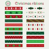 Set of Christmas seamless ribbons in Green, Red and White vector illustration