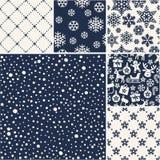 Set of Christmas seamless snow patterns Royalty Free Stock Image