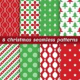 Set of 8 Christmas seamless vector patterns. For cover of greeting card, invitation, brochure, poster, banner, website background royalty free illustration