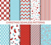 Set of Christmas seamless vector patterns. And backgrounds Royalty Free Stock Image