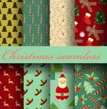 Set of Christmas seamless Stock Images