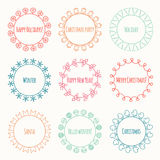 Set of 2016 Christmas season hand drawn vector Royalty Free Stock Photography