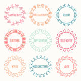 Set of 2016 Christmas season hand drawn vector Stock Photography