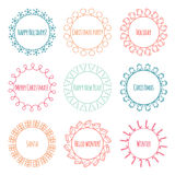 Set of 2016 Christmas season hand drawn vector Royalty Free Stock Images