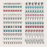 Set of 2016 Christmas season hand drawn vector Stock Photos