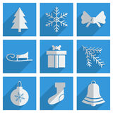 Set of Christmas with shadow flat concept modern Royalty Free Stock Photo