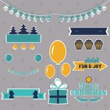 Set of Christmas shapes and labels in retro style vector Stock Images