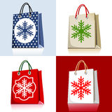 Set of christmas shopping bags Stock Photography