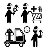 Set of Christmas Shopping Gifts Flat Black Pictograms People Ico Royalty Free Stock Images