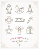 Set of Christmas signs and symbols Royalty Free Stock Photo