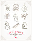 Set of Christmas signs and symbols Royalty Free Stock Image