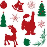 Set of christmas silhouette shapes Royalty Free Stock Photos