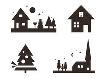 Set of Christmas silhouettes Royalty Free Stock Photo