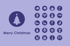 Set of Christmas simple icons Stock Photos
