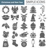 Set of Christmas simple icons for web and mobile design. Set of Christmas simple icons for web and mobile Stock Photography