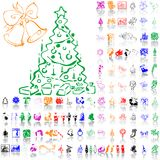 Set of Christmas sketches. Part 8. Royalty Free Stock Image