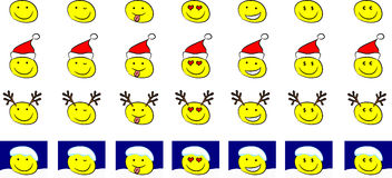 Set of christmas smileys (vector). Set of smileys with different facial expressions wearing christmas hats, reindeer horns, or snow on the head (vector available vector illustration