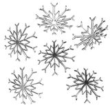 Set of christmas snow flakes 3d render isolated on white backgro Stock Photography