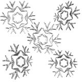 Set of christmas snow flakes 3d render isolated on white background Royalty Free Stock Photos