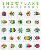 Set of Christmas Snowflake Banner Templates. Illustration of paper geometric stickers with text and infographic options Royalty Free Stock Photography
