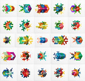 Set of Christmas Snowflake Banner Templates. Illustration of paper geometric stickers with text and infographic options Royalty Free Stock Photo