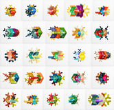 Set of Christmas Snowflake Banner Templates. Illustration of paper geometric stickers with text and infographic options Stock Images