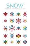 Set of Christmas snowflake icons Stock Photos